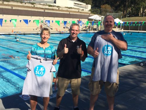 Shawn Tucker, Aquatics Coordinator, gives us our official t-shirts for completing the SLO Swim Center 100 Mile Challenge / 2016.