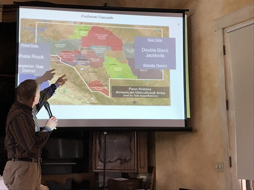 photo of Tom Myers, winemaker for Castoro Cellars, map of Paso Robles Zinfandel vineyards