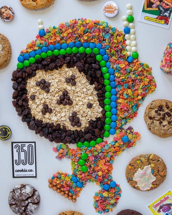 Inspired by street art, the astronaut logo is a fun-loving mascot of 350 Cookie Co.